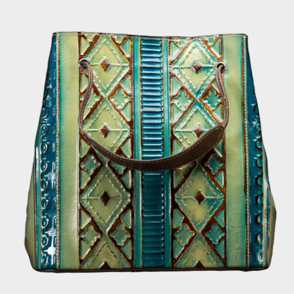 Brush-off Color Rhombic Pattern Large-capacity Handbag - Blue
