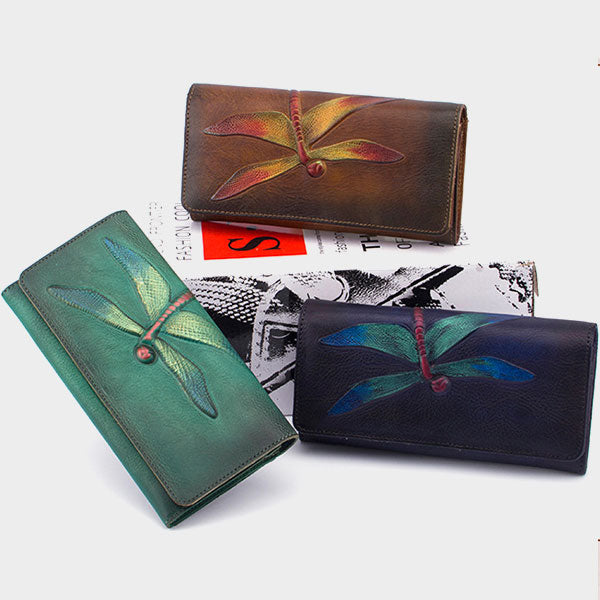 Retro Style Genuine Leather Embossed Dragonfly Painted Brush-off Color Long Wallet-Red