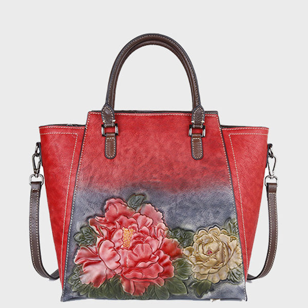 Genuine Leather Floral Gradient Color Handbag-Red