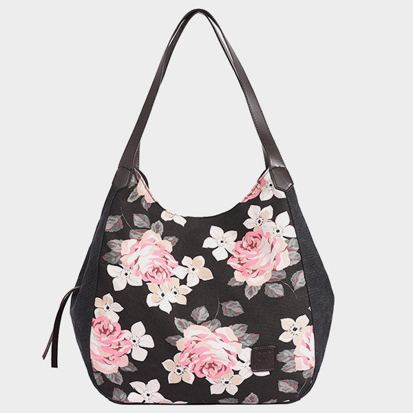 Large-capacity Rose Flower Print Multi-compartment Shoulder Bag-Black