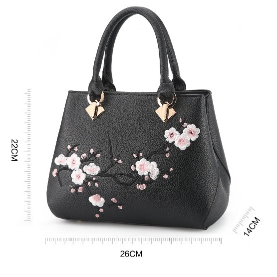 Plum Blossom  Embossed Retro Handbag-Gray