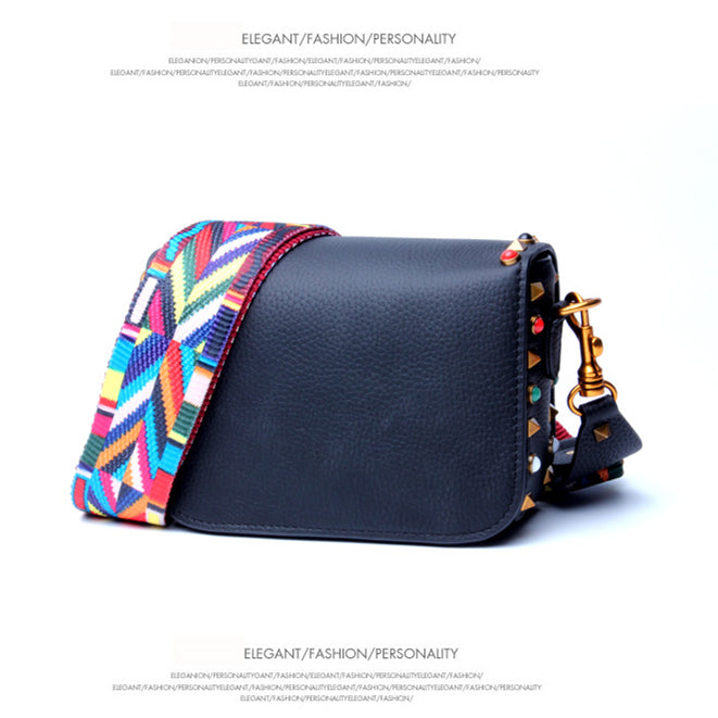 Rainbow Rivets Crossbody Bag-Black