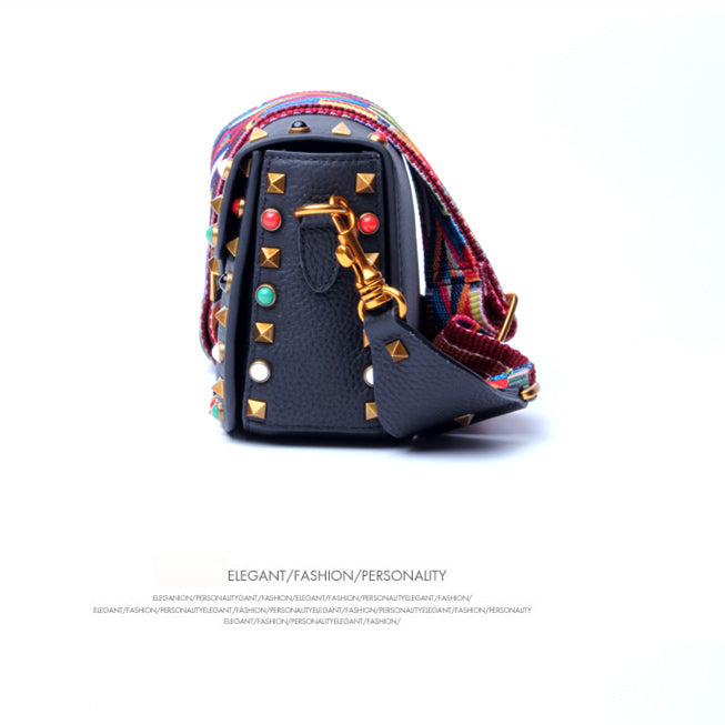 Rainbow Rivets Crossbody Bag-Red