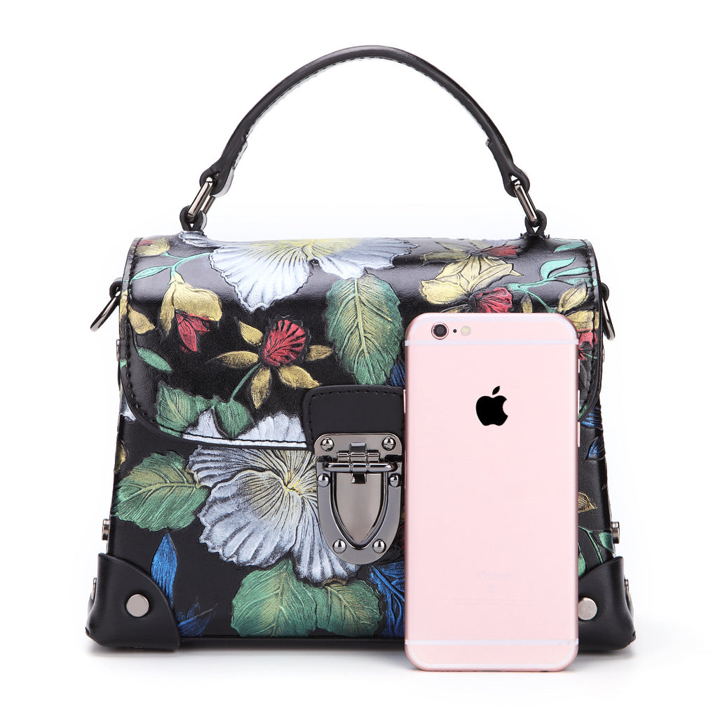 Butterfly Flowers Genuine Leather kelly Bag