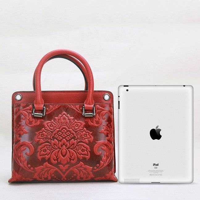 Retro Carving Flower Genuine Leather Crossbody-Red