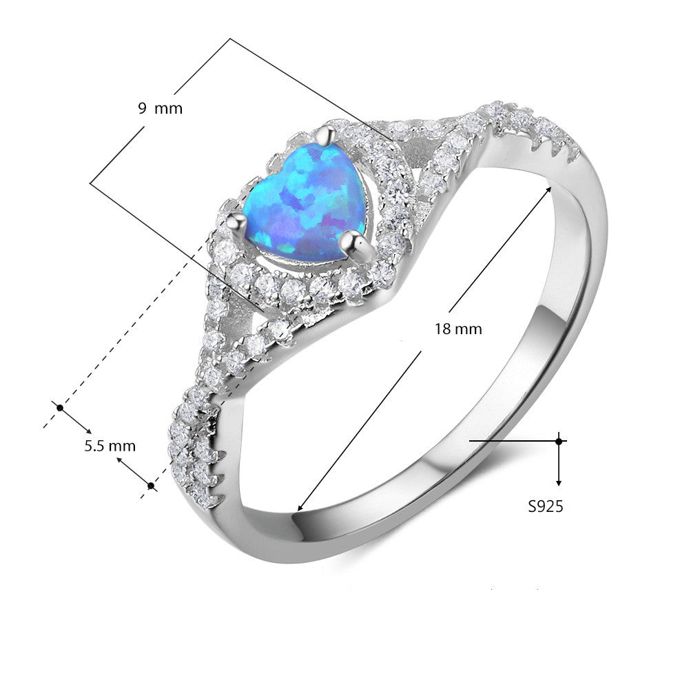 OPAL Synthetic White Blue Opal Ring Jewelry