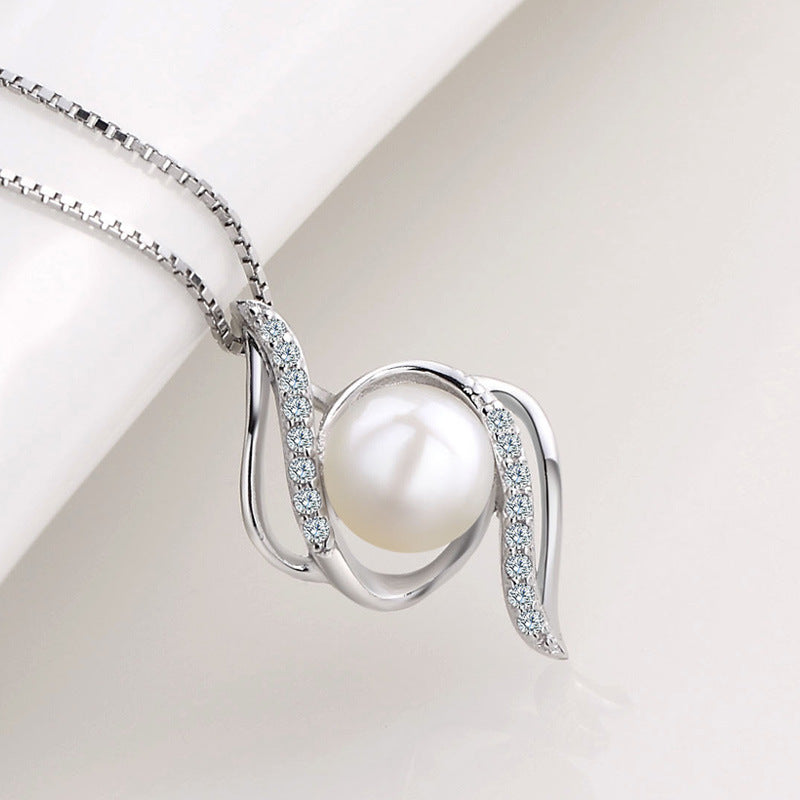Fashion Women Necklace 925 Freshwater Cultured Pearl White Stone Pendant Jewelry Gifts Jewelry Accessories