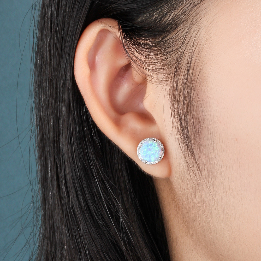 OPAL Synthetic White Blue Opal Earrings Jewelry