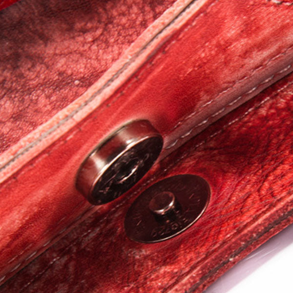 Handmade Brush-off Genuine Leather Picture Package-RED&Black