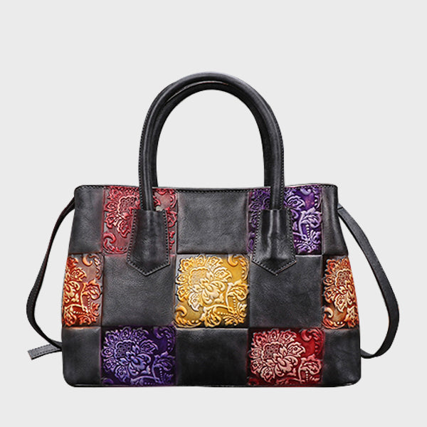 Brush-off Color Three-dimensional Embossed Leather Stitching Design Retro Genuine Leather Tote-Gray
