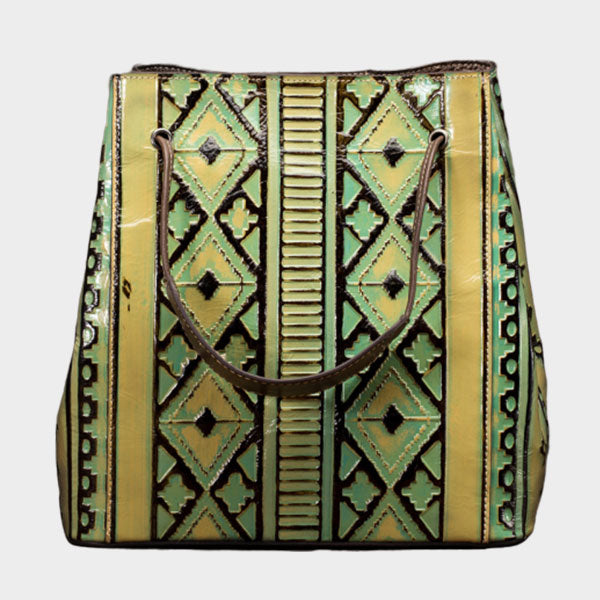 Brush-off Color Rhombic Pattern Large-capacity Handbag - Green