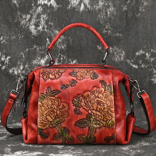 Genuine Leather Flower Embossed Pleated-Shape Retro Shoulder Bag-Red