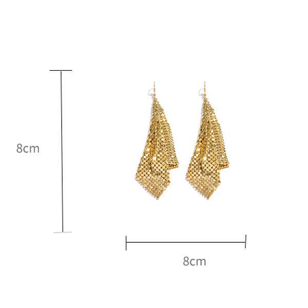 Gold Exaggerated Soft Long Earrings
