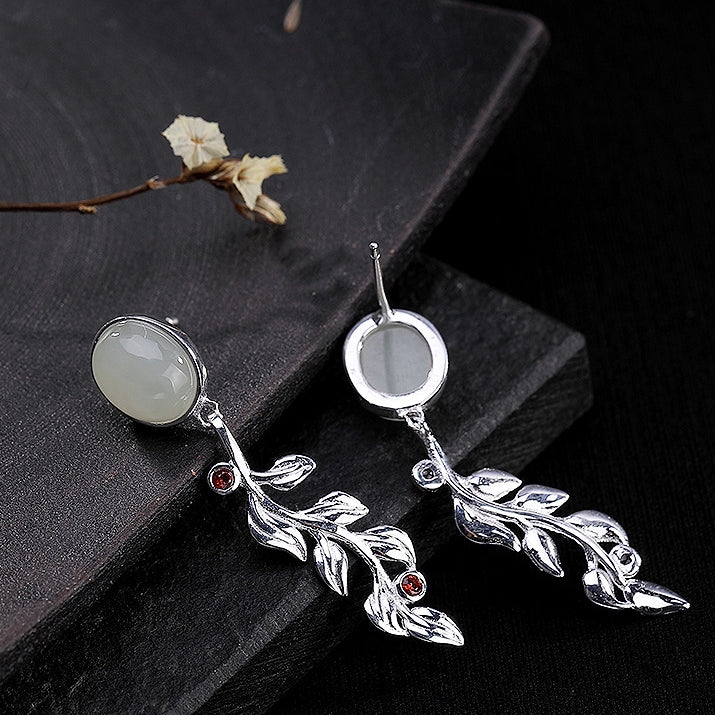 Leaf-shaped Inlaid Jade Ladies Earrings