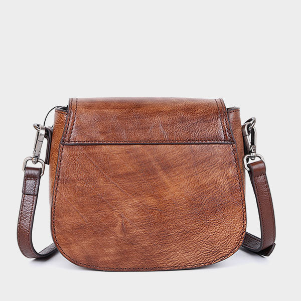 Peony Embossed Genuine Leather Clamshell Shoulder Bag-Coffee