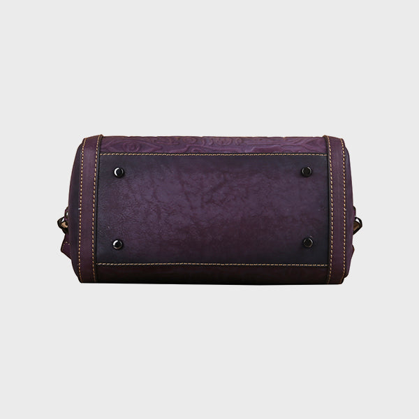 Pictograph Embossed Retro Genuine Leather Crossbody Bag-Purple
