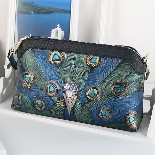 Leather Shoulder Bag Hand-painted Peacock Pattern Clutch-Large