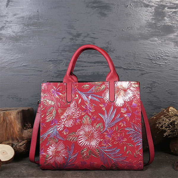 Classic Flower Print Embossed Genuine Leather Large Capacity Ladies Tote Bag-Red Peony Flower