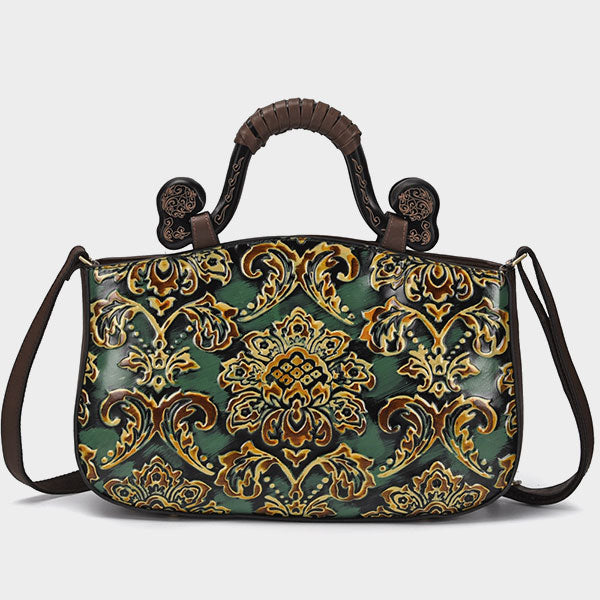 Genuine Leather Ruyi-Handle Handmade Brush-off Color Printed Embossed Ladies Tote Bag-Green