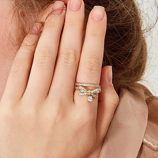 Diamond Bow Double-layered Split Ring