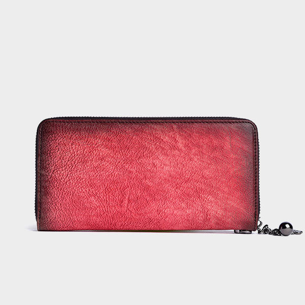 Plum Blossom Embossing Long Leather Wallet - Red