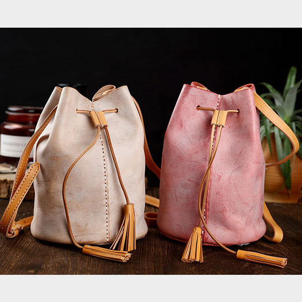 Original Handmade Retro Fog Wax Polishing Genuine Leather Tassel Simple Bucket Bag-Red
