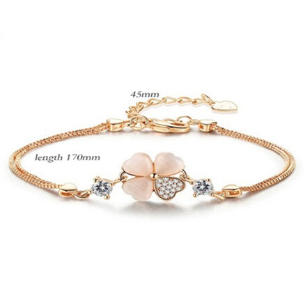 Four-leaf Copper Plated Silver  Women's Lucky Bracelet