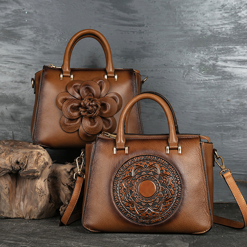 2020 New Retro Flower Embossed Genuine Leather Handbag