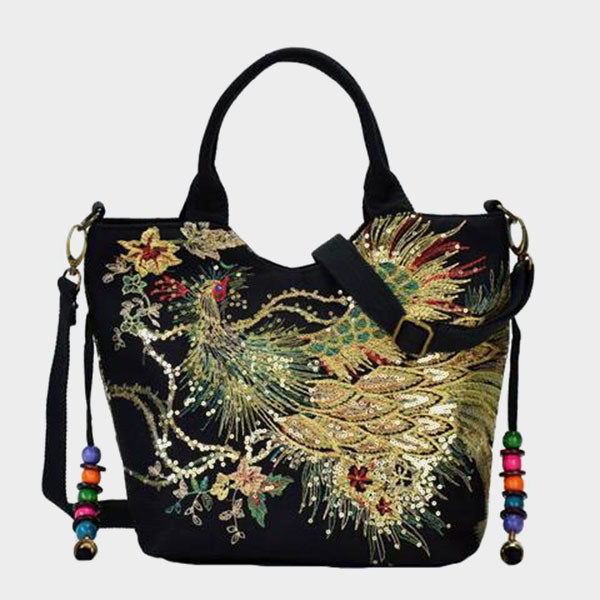 Peacock Embroidery Crossbody Bag-Black