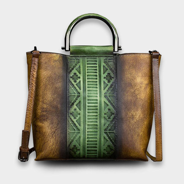 Vintage Leather Embossing Crossbody Bag-Green