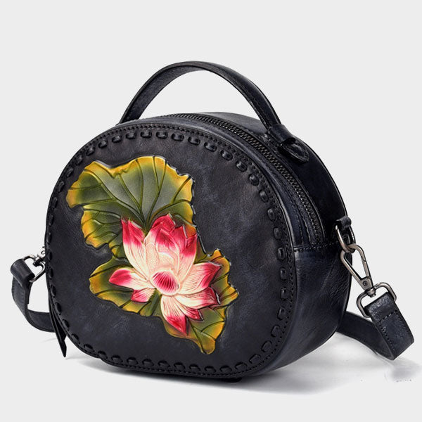Cute Round Genuine Leather Handmade Brush-Off Color Lotus Retro Shoulder Bag-Black