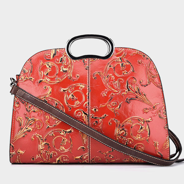 Water Lotus Pattern Embossed Retro Handbag - Red