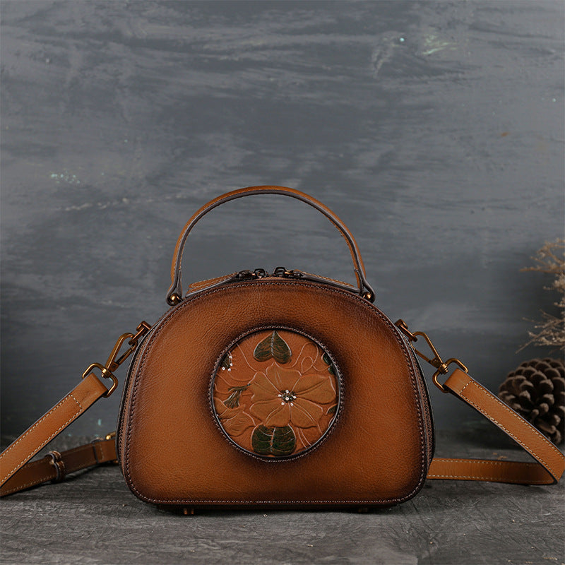 2019 Genuine Leather Lotus Embossing Vintage Shoulder Bag-Brown