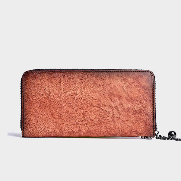 Plum Blossom Embossing Long Leather Wallet - Brown