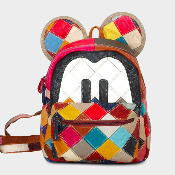 Genuine Leather Plaid Stitching Mickey Backpack
