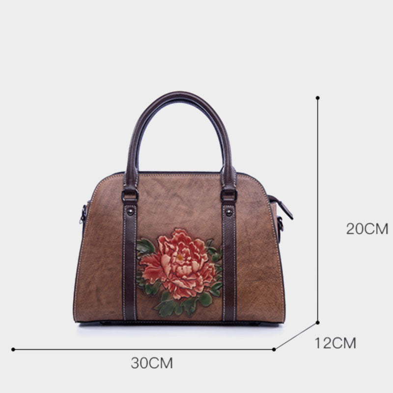 Embossing rose flower genuine Leather handbag - Green