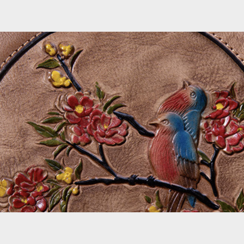 Cute bird embossing Genuine Leather handbag - Purple