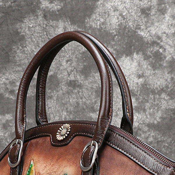 Handmade Brush-off Color Flower Embossed Retro Genuine Leather Large Capacity Tote-Brown