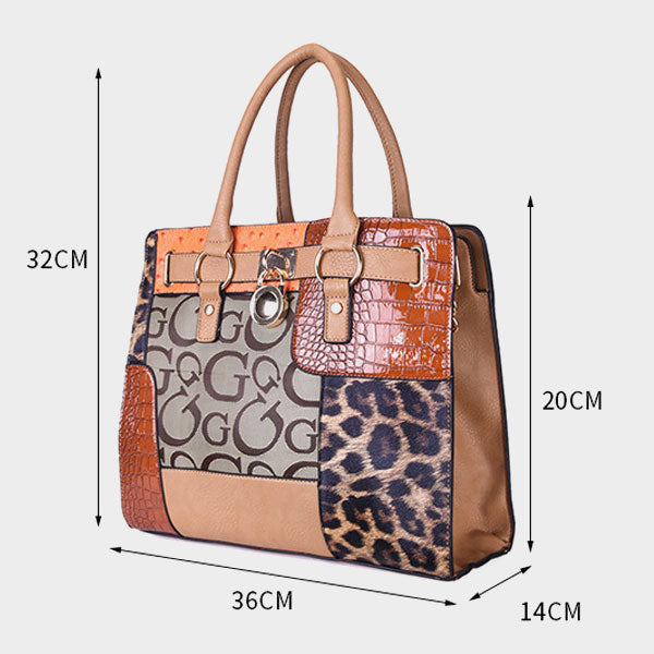 Fashion stitching super large capacity shoulder bag - Brown