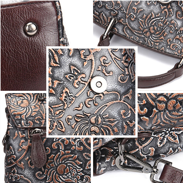Retro Floral Embossing Genuine Leather Crossbody Bag-Brown