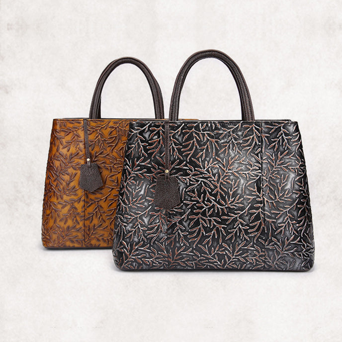 Retro Leaves Embossing Genuine Leather Crossbody Bag-Brown