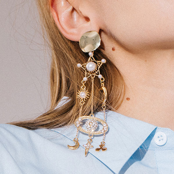 925 Silver Personality Five-pointed Star Long Earrings