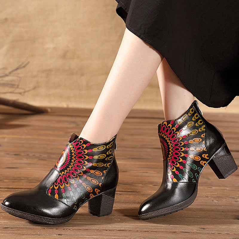 2019 Winter New Side Zipper Print Design Warm Inner Genuine Leather High Heel Boots-Black