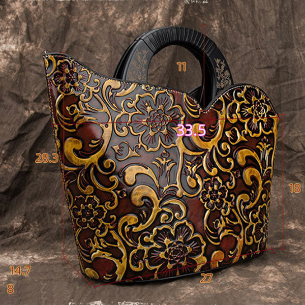 Genuine Leather Large Capacity Unique Design Handmade Brush-off Color Printing Embossed Bucket Bag-Red