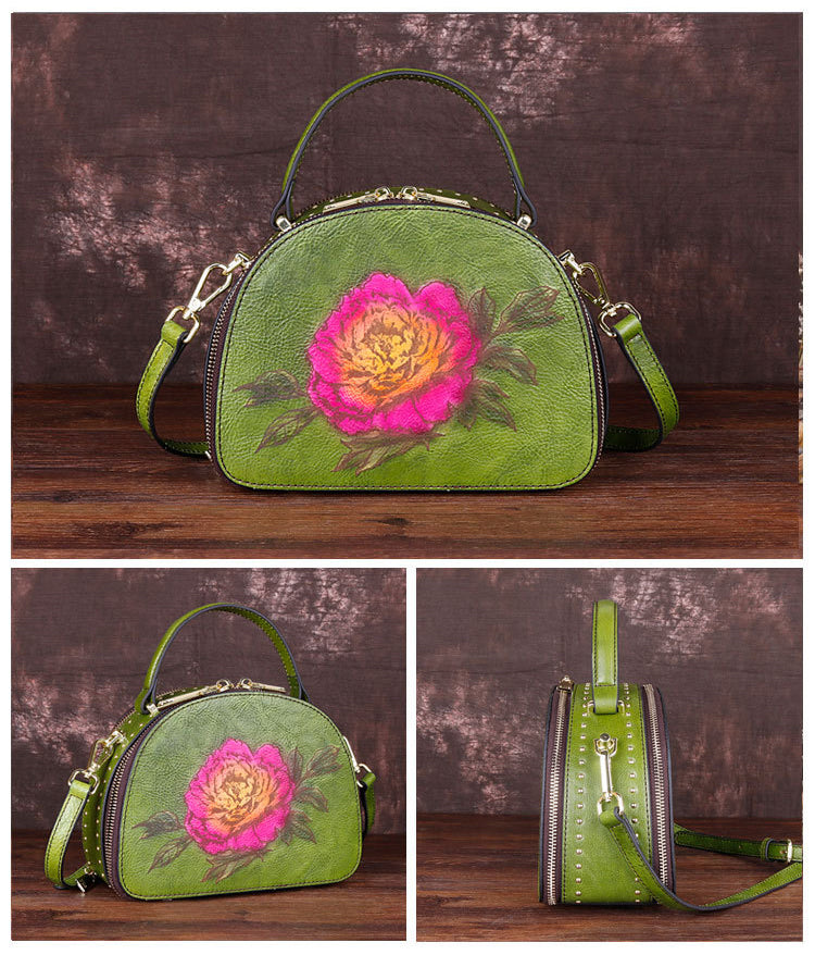 Vintage Genuine Leather Handmade Flower Print Studded Tote Bag-Green
