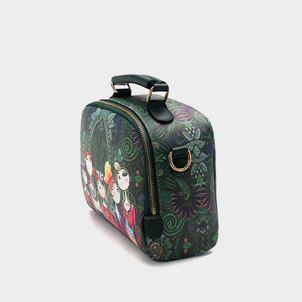 Original print trend ladies shoulder bag - Green