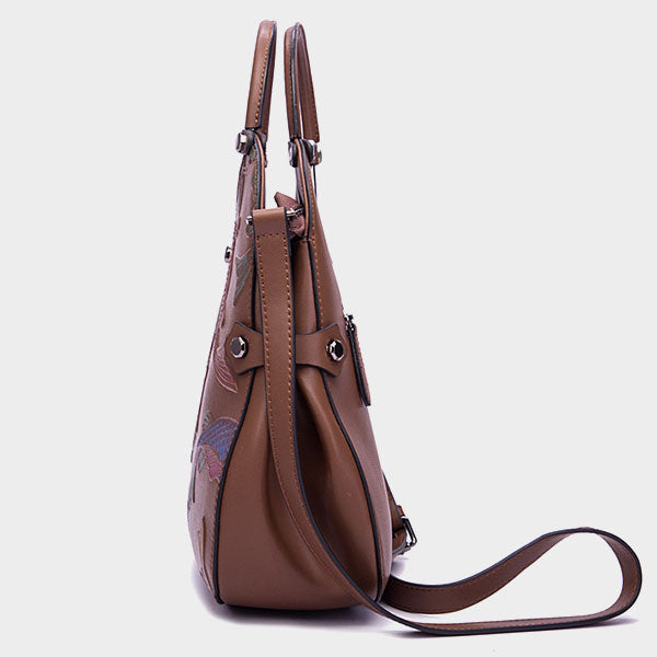 Genuine Leather Handmade Koi Embossed Bucket Bag - Dark Blue