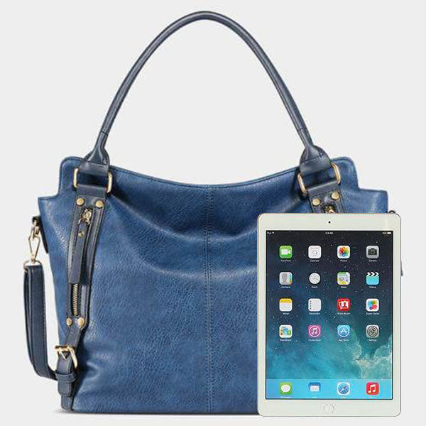 4 Colors Leather Handbag-Blue