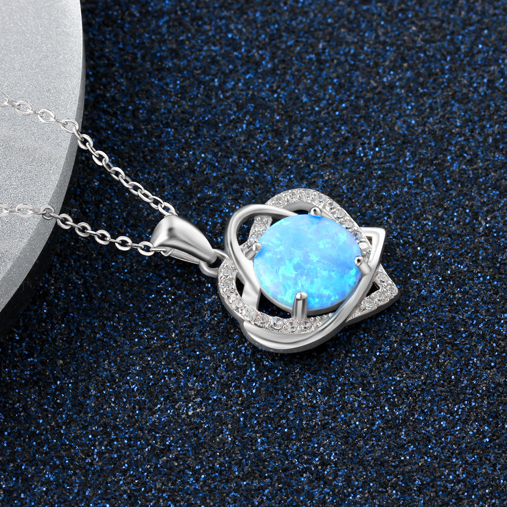 OPAL Synthetic White Blue Opal Pendant Jewelry