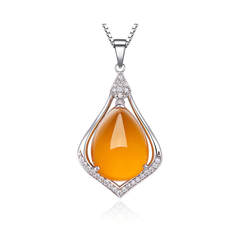 Yellow Chalcedony water drop shape Pendant Vintage 925 sterling silver jewelry natural Semi-precious stones necklace